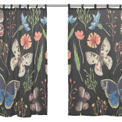 JSTEL 2 PCS Voile Window Curtain,Tropical Butterfly Leaves Floral,Tulle Sheer Curtain Drape Valance 140cm x 200cm Two Panels Set