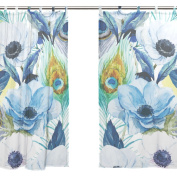 JSTEL 2 PCS Voile Window Curtain,Watercolour Peacock Feather Floral,Tulle Sheer Curtain Drape Valance 140cm x 200cm Two Panels Set