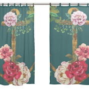 JSTEL 2 PCS Voile Window Curtain,Vintage Anchor Red Floral ,Tulle Sheer Curtain Drape Valance 140cm x 200cm Two Panels Set