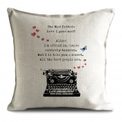 Alice in Wonderland Mad Hatter Tea Party Cushion Cover Bonkers Hearts Typewriter