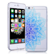 iPhone 6 Plus Case Silicone iPhone 6S Plus Cover TPU Smartlegend Apple iPhone 6S Plus iPhone 6 Plus Soft Rubber Bumper Spring Flower Painting Pattern Back Cover Ultra Thin Shockproof Anti Slip SmartPhone Protective Case -Blue Lotus Floral