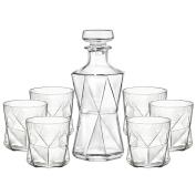 Cassiopea Decanter & Tumbler Set - Glass Spirit Decanter with 6 x Tumbler Glasses