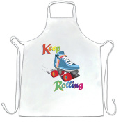 Keep On Rolling Derby Girls Roller Skate Jammer Blocker Pivot Skating Vintage Rainbow Retro Apron Cool Funny Gift Present For Kitchen BBQ Chef Cook