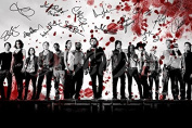 THE WALKING DEAD CAST BLOOD ART PRE SIGNED PHOTO PRINT POSTER N.O 5 30cm X 20cm