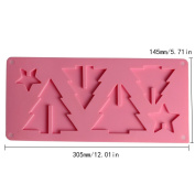 Andux Zone Christmas Pine Tree / Heart Inserts Silicone DIY Biscuit Chocolate Moulds Ice Cube Tray Cake Decoration GJMJ-01