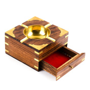 Rusticity Wood Cigarette Case and Ashtray with Brass Corners | Handmade |
