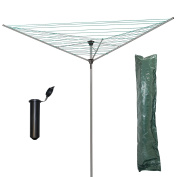 Marko Homewares 3 Arm 34M Rotary Airer Clothes Dryer Outdoor Laundry Washing Line FREE Cover & Ground Socket