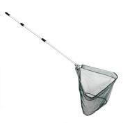 Folding Fishing Net Telescopic Fishing Landing Net Triangular Brail Fish Net with 3 Sections Aluminium Extending Pole Handle, Fish Shrimp Bird Butterfly Catching Gear Fishing Tackle
