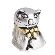 Lucky Cat Charm 925 Sterling Silver Animal Beads Pet Charms for Pandora Charms Bracelet