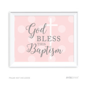Andaz Press Blush Pink and Grey Baby Girl Baptism Collection, Party Signs, God Bless This Baptism, 22cm x 28cm , 1-Pack