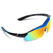 Ewin E01 Polarised Sports Sunglasses with 3 Interchangeable Lenses for Men Women Golf Baseball Volleyball Fishing Cycling Driving Running Glasses