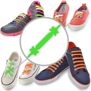 No Tie Laces - Elastic Silicone Shoelaces with Special Design to Easy Pull & Lock - Perfect for Toddler, Pre School, Dyspraxic Kid or Arthritis Senior Citizen Adult - Waterproof & Super Easy To Clean