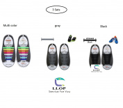 LLOP Silicone Elastic No Tie Shoelaces Lock Bands -Waterproof Flat Elastic Athletic Running Fan Shoe Lace Multicolor-for Kids or Adults' sneakers boots running triathalon