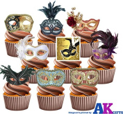Masquerade Ball Masks Party Pack Mix - Edible Stand-up Cupcake Toppers