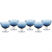 Set of 6, Ice Cream Sundae Dishes, Ice Cream Sundae Glasses, Sundae Dishes, Ice Cream Bowls, Ice Cream Cup ~PICCOLO~ Blue, 10 cm, Glass