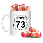Birth Year US Road Sign Route 66 Style since 73 Design 300ml Mug & 8 Mini Tubes of Love Hearts