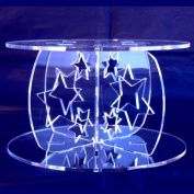 Stars Round Acrylic Pillars Wedding & Party Cake Separators / Stands 25cm - 23cm