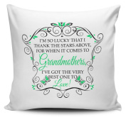 I'm So Lucky That I Thank The Stars Above (GRANDMOTHER - GREEN) Cushion Cover