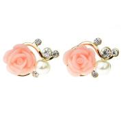 Sealike Korean Cute Rose Rhinestone Pearl Earrings Eardrop Ear Studs for Women Girls with Stylus
