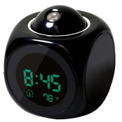 Wall/Ceiling Projection Alarm Clock, LED LCD Digital Talking With Temperature Display - Black