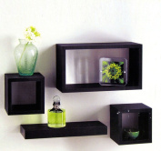 Set of 4 Black Wooden Wall Mounted Retro Floating Cube Shelving Storage Display Shelf Shelves by Erinyx