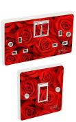 Red Roses Flowers Light Switch & Double Socket Sticker Vinyl / Skin cover sosw9