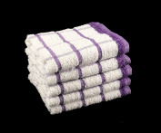 Pack of 10 PURPLE & WHITE 100% Cotton Kitchen Terry Tea Towels Small Size 33cm x 58cm Budget Quality