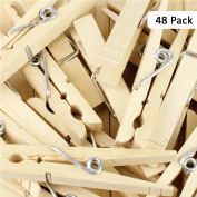48pcs Heavy Duty Traditional Wooden Clothes Pegs - For All Weather Types