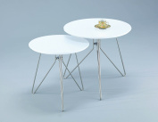 ASPECT Alegro Round Side/Coffee/End/Lamp Table, Wood, White, Set of 2