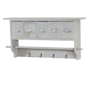 Wall-Mounted Clothes Rack With Shelf Unit with 5 Drawers 65 x 32 x 13 cm Shabby Look Vintage Grey