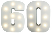 60th Birthday / 60th Diamond Wedding Anniversary LIGHT-UP Numbers Party Lights - Sixtieth Birthday / Wedding Anniversary - White Wooden LED Light Up Number 60 - Free Standing or Wall Mounted Birthday / Anniversary Light Decoration - LARGE - 15cm