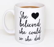 "Acen ""She Believed She Could So She Did"" Ceramic Mug, White, 330ml"