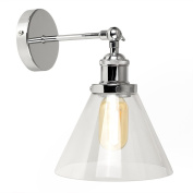 Retro Style Polished Chrome Adjustable Knuckle Joint Wall Light with a Tapered Clear Glass Shade