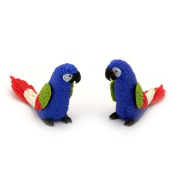 MyTinyWorld 2 Blue Dolls House Miniature Parrots with Multi-Colured Wings and Red Tail