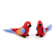 MyTinyWorld 2 Red Dolls House Miniature Parrots With Multi-Coloured Wings and Blue Tails