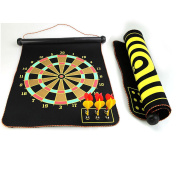 """Gankarii - 15"""" Safety Dart Board Game Roll up Two Sided Reversible Bullseye Target Magnetic Dartboard With 6 Darts for Kids"""