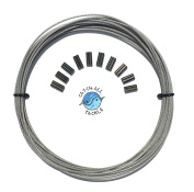 49-strand Cable Vinyl Coated 7x7 Stainless Steel Kit 9.1m 120kg 1.2mm W/10 1.4mm Crimps