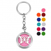 VALYRIA Stainless Steel Butterfly Essential Oil Diffuser Keychain Aromatherapy