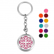 VALYRIA Stainless Steel Butterfly Flower Essential Oil Diffuser Keychain Aromatherapy