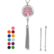 VALYRIA Multifunctional Tree of Life Aromatherapy Essential Oil Diffuser Necklace & Locket Bracelet With 316L Stainless Steel Tassel Pendant + 11 Pads