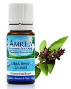 USDA Certified Organic - Basil, Sweet Linalol (Ocimum Basilicum) Therapuetic Essential Oil By Amrita Aromatherapy - SIZE