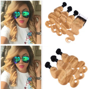 Tony Beauty Hair Peruvian Honey Blonde Ombre Human Hair Weaves With Closure Body Wave 1B/27 Strawberry Blonde Ombre 4x4 Lace Front Closure With 3 Bundles 4Pcs Lot In Stock