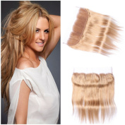 Tony Beauty Hair Silky Straight #27 Light Brown Ear to Ear Full Lace Frontal 13x 4 Free Middle 3 Way Part Brazilian Honey Blonde Human Hair Lace Frontal Closure With Baby Hair 25cm - 80cm