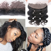 Fushen Hair Free Part Ear to Ear 33cm x 10cm Full Frontal Lace Closure Body Wave Bleached Knots with Baby Hair 50cm