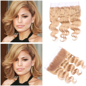 Tony Beauty Hair Honey Blonde Ear to Ear 13x 4 Lace Frontal Closure With Bleached Knots #27 Light Brown Body Wave Brazilian Hair Full Frontal Lace Closure 25cm - 80cm In Stock
