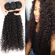 XCCOCO Curly Hair Products Malaysian Curly Hair Weft Weaves Unprocessed Human Hair 3 BundlesNatural Colour 7A Grade Curly Sexy Hair Extensions for Black Women 41cm 41cm 46cm