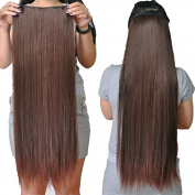 70cm 70 gramme One Piece Clip hair with 5 Clips #4 dark brown 100% Virgin human hair Clip in Extension Straight Brazilian Human Hair Clip in Human Hair Extensions