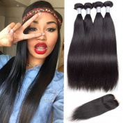 Flady Peruvian Straight Hair 3 Bundles with Closure 100% Virgin Human Hair Bundles with Lace Closure Middle Part