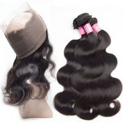 Lemoda Hair 12 14 16 and 30cm Body Wave 360 Lace Frontal Band with 3 Bundles Brazilian Virgin Hair Weave Remy Human Hair Extensions Natural Colour