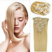 Wigsforyou Double Weft 100% Remy Human Hair Clip in Hair Extensions 38cm - 50cm 70g